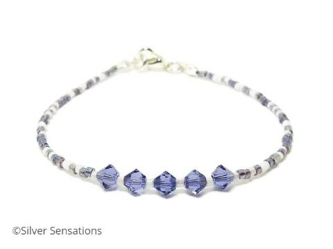Tanzanite Purple & White Seed Bead Stacking Bracelet With Swarovski Crystals